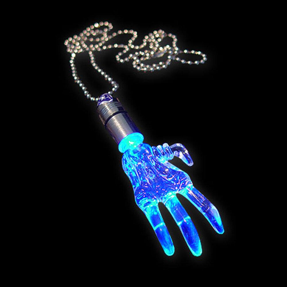 BLINXS LED Schmuckanhänger Plexiglas Hand blau