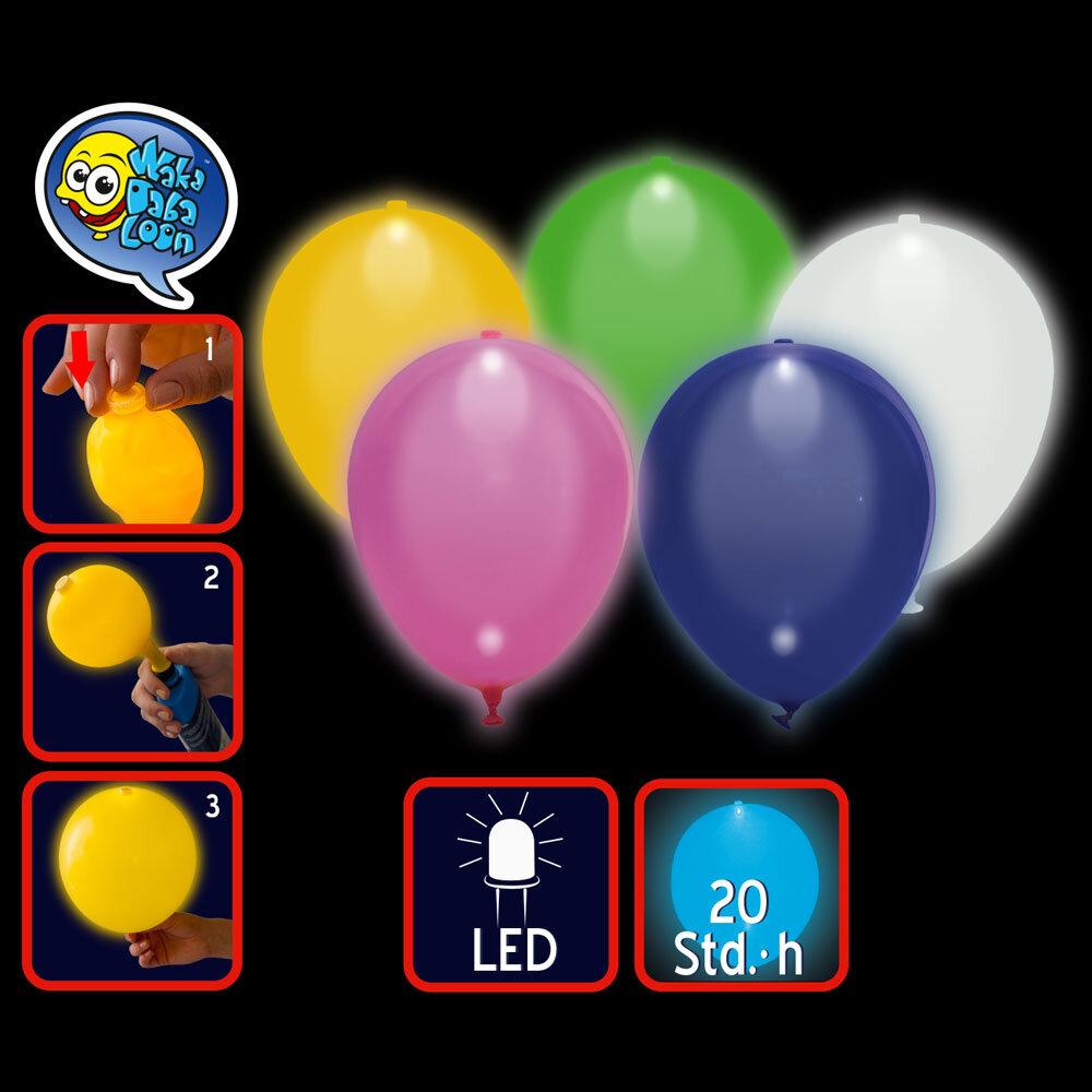 led luftballons leuchtend versch farben rosa gelb blau wei szli. Black Bedroom Furniture Sets. Home Design Ideas