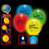 LED Luftballons Happy Birthday im 4er Pack Farbmix