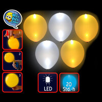 LED Luftballons leuchtend in gold & silber - 5er Pack