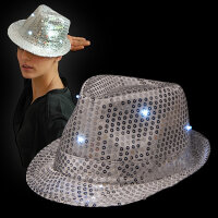 BLINXS LED Paillettenhut / Disco-Hut silber | 3...