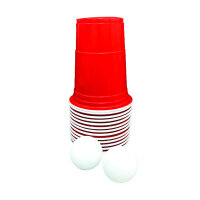 14-teiliges Beer Pong Set - 12 rote Becher + 2 Ping Pong...